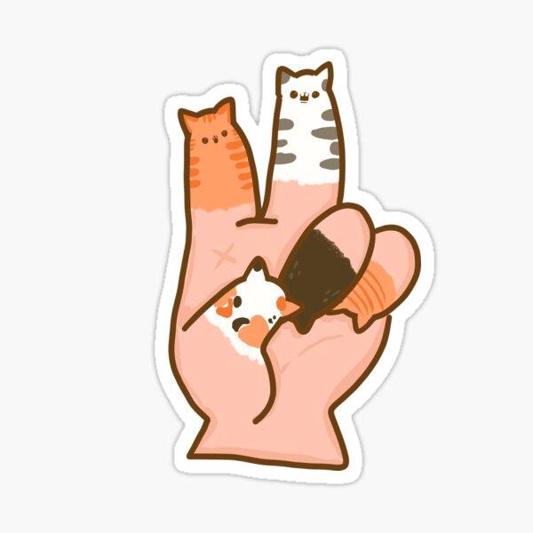 Dedos de gato paz Pegatina