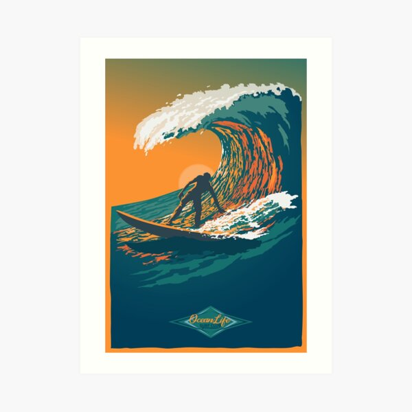 Ocean Life Surf Club retro surf poster  Art Print