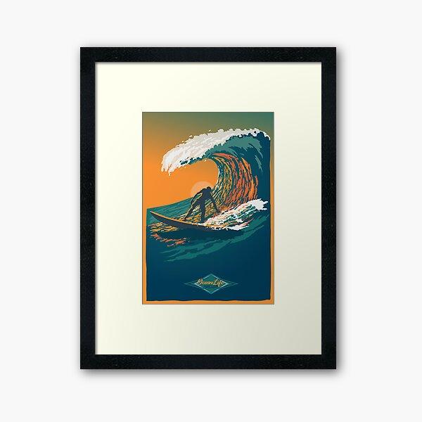 Ocean Life Surf Club retro surf poster  Framed Art Print