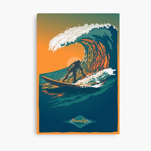 Cartel de surf retro de Ocean Life Surf Club Lienzo