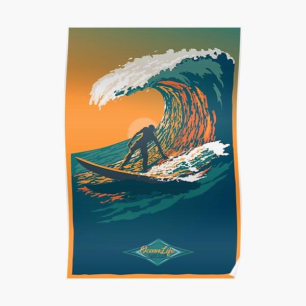 Ocean Life Surf Club retro surf poster  Poster