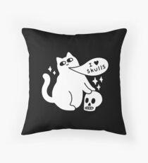 I Loves Skulls Cat Throw Pillow