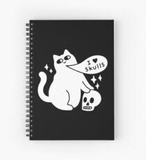 I Loves Skulls Cat Spiral Notebook