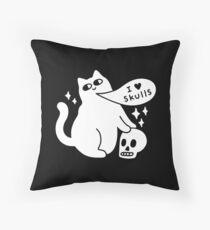 I Loves Skulls Cat Floor Pillow