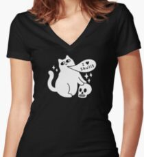 I Loves Skulls Cat Fitted V-Neck T-Shirt