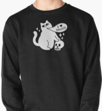 I Loves Skulls Cat Pullover Sweatshirt