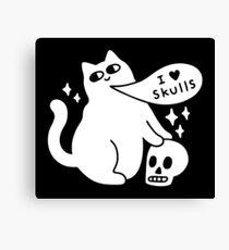 I Loves Skulls Cat Canvas Print