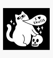 I Loves Skulls Cat Photographic Print