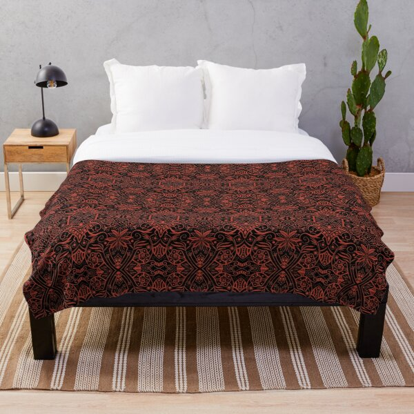 Greek Baroque, Bohemian Arabesque Pattern, Black Terracotta Throw Blanket