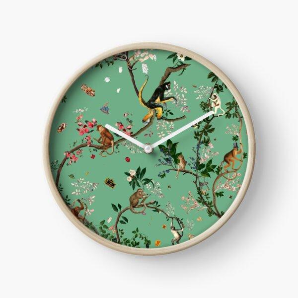 Monkey World Green Clock