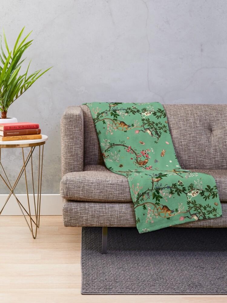 Alternate view of Monkey World Green Throw Blanket