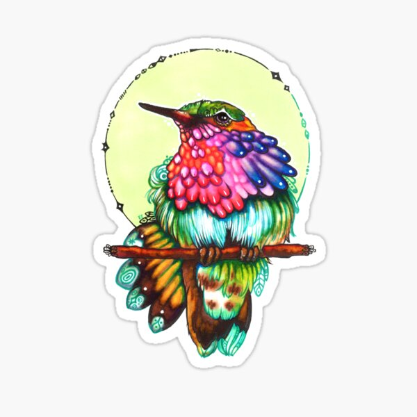 Federzucker - colorful hummingbird Sticker
