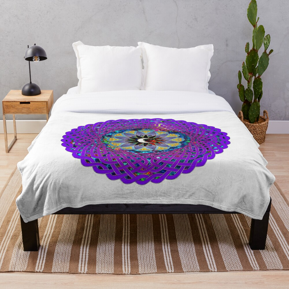 Man in the Moon Celtic Mandala Throw Blanket