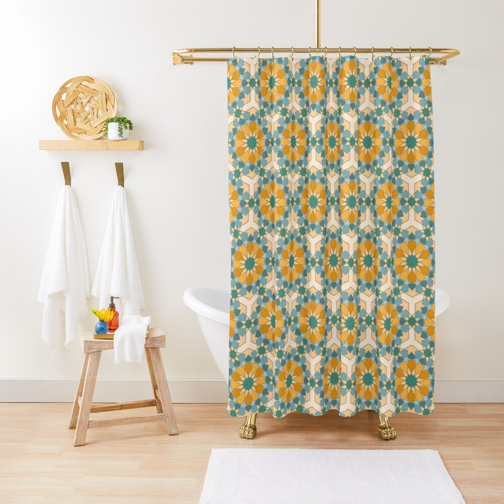 Geometric Pattern: Arabic Tiles: Lily Shower Curtain