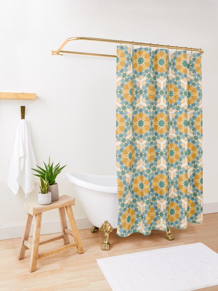 Alternate view of Geometric Pattern: Arabic Tiles: Lily Shower Curtain