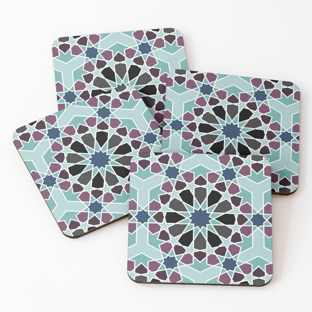 Geometric Pattern: Arabic Tiles: Midnight Coasters (Set of 4)