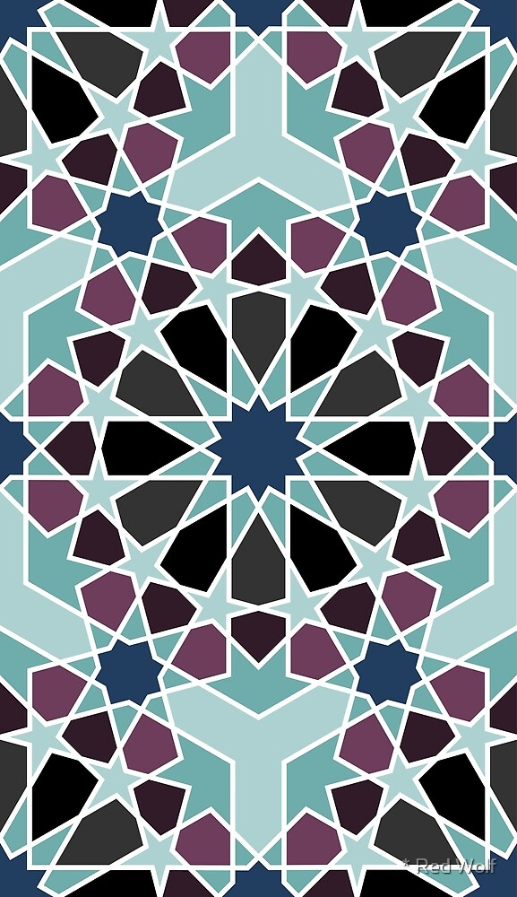 Geometric Pattern: Arabic Tiles: Midnight by * Red Wolf