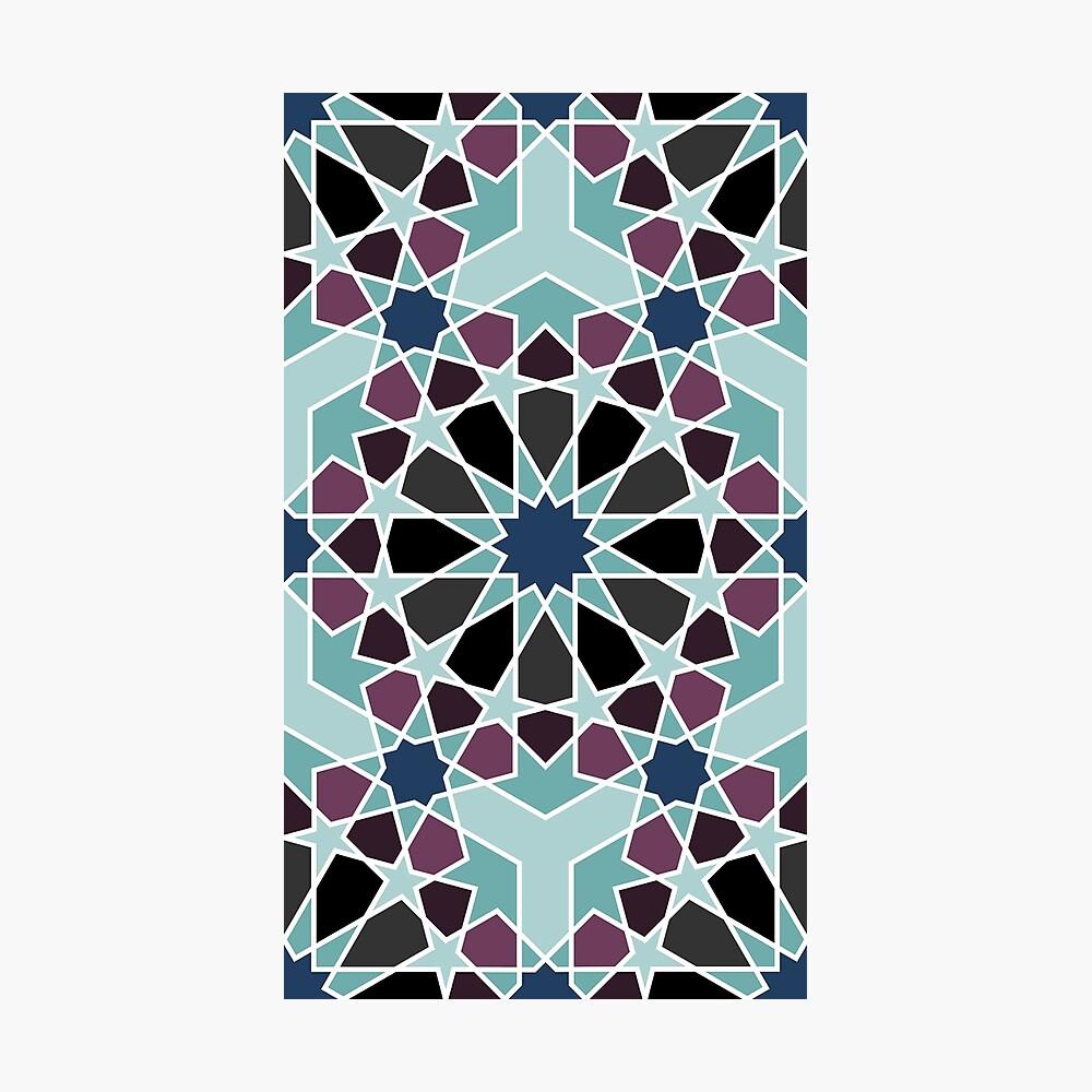 Geometric Pattern: Arabic Tiles: Midnight Photographic Print