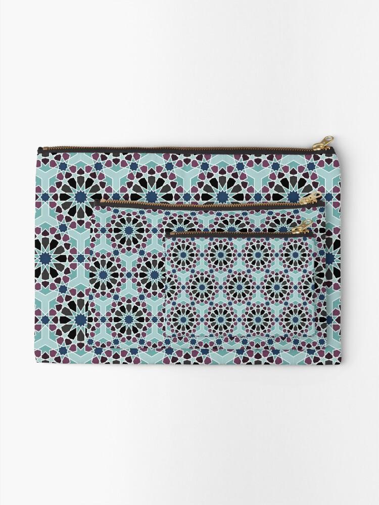 Alternate view of Geometric Pattern: Arabic Tiles: Midnight Zipper Pouch