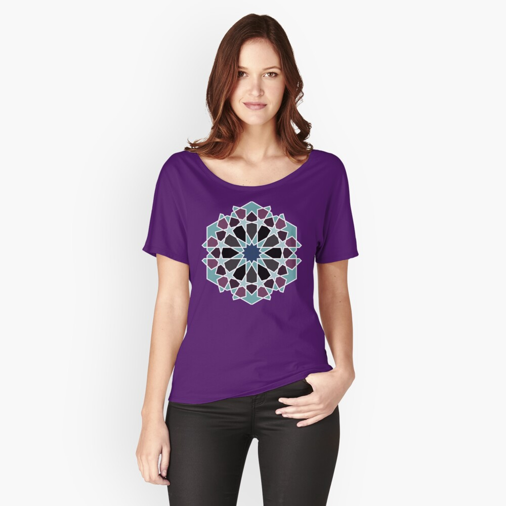 Geometric Pattern: Arabic Tiles: Midnight Relaxed Fit T-Shirt