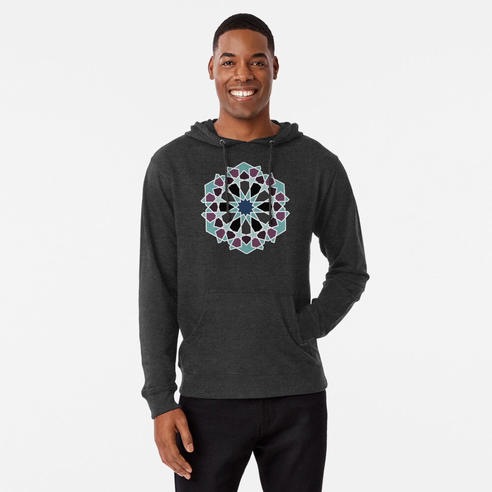 Geometric Pattern: Arabic Tiles: Midnight Lightweight Hoodie