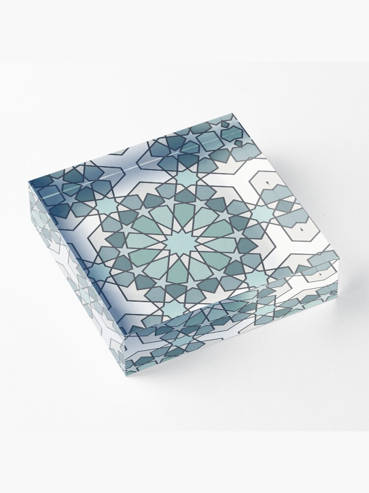 Alternate view of Geometric Pattern: Arabic Tiles: Seafoam Acrylic Block