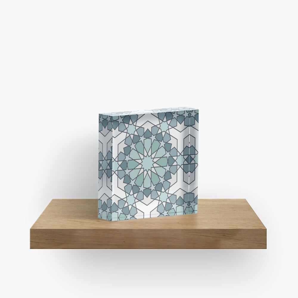 Geometric Pattern: Arabic Tiles: Seafoam Acrylic Block