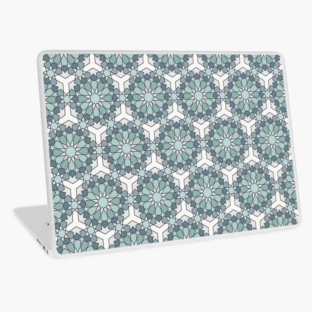 Geometric Pattern: Arabic Tiles: Seafoam Laptop Skin