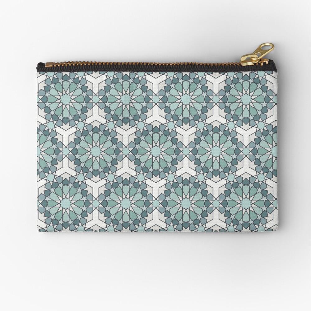 Geometric Pattern: Arabic Tiles: Seafoam Zipper Pouch