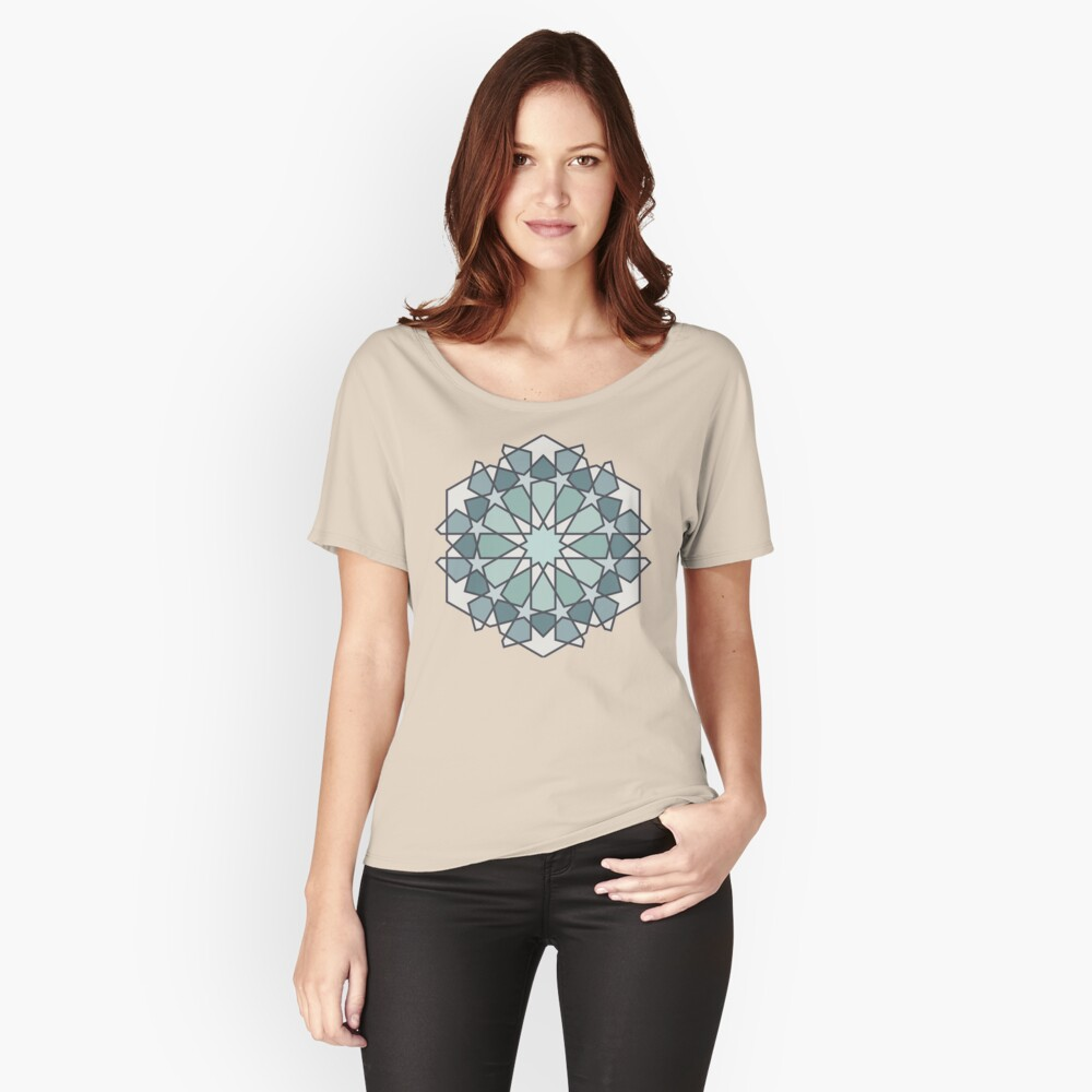 Geometric Pattern: Arabic Tiles: Seafoam Relaxed Fit T-Shirt