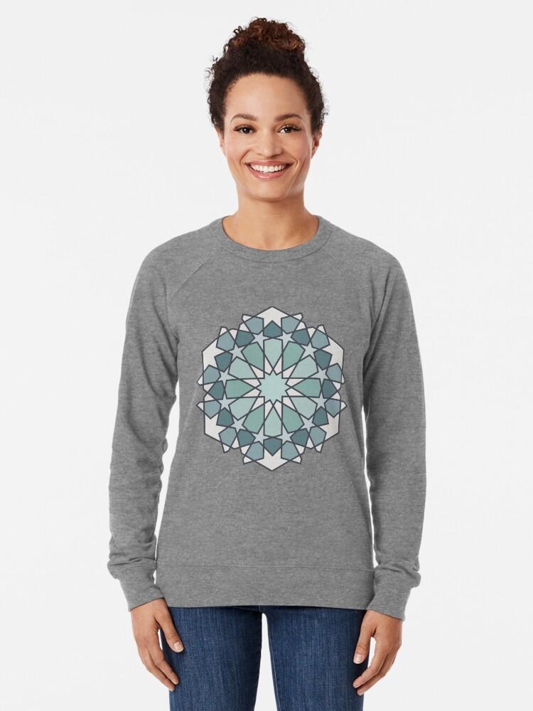 Alternate view of Geometric Pattern: Arabic Tiles: Seafoam Lightweight Sweatshirt