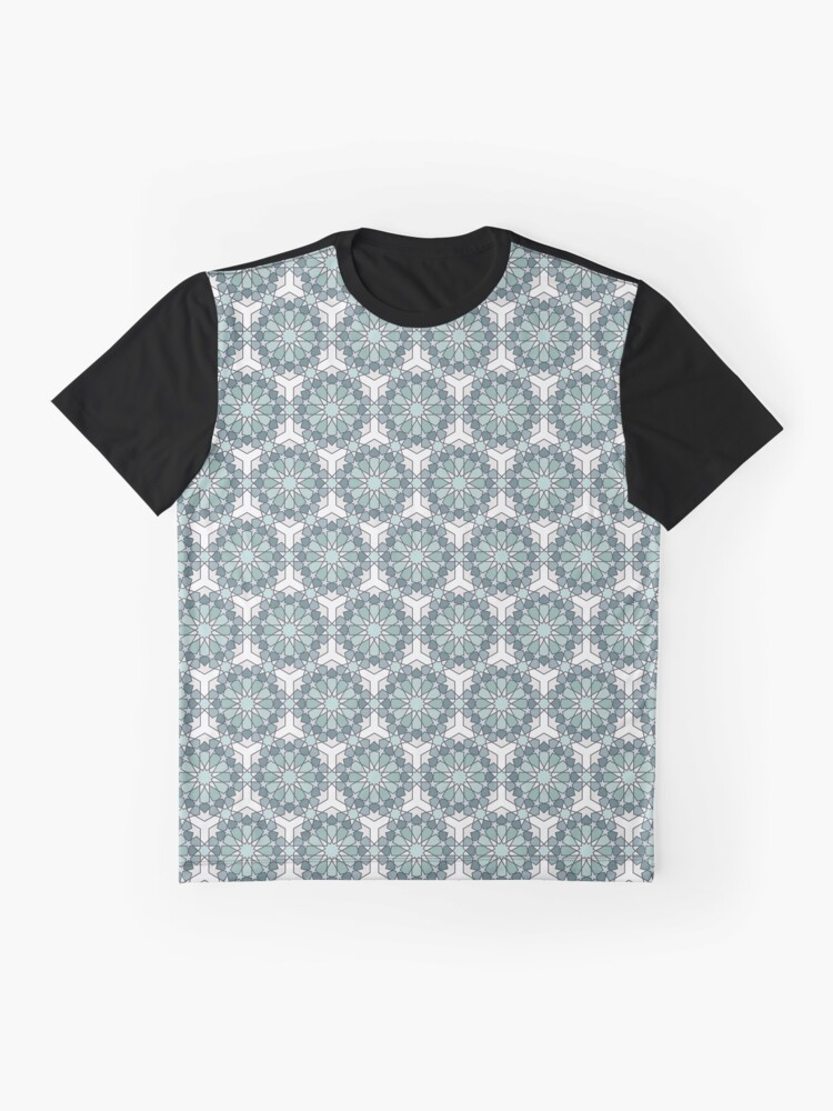 Alternate view of Geometric Pattern: Arabic Tiles: Seafoam Graphic T-Shirt