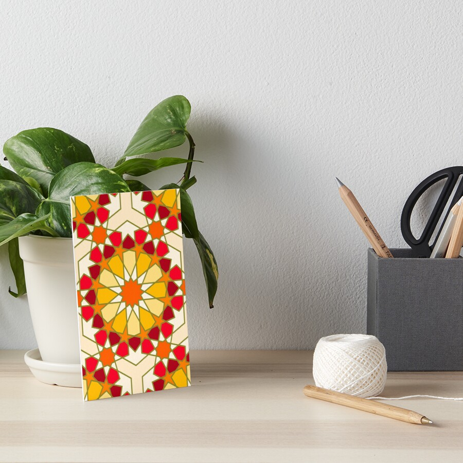 Geometric Pattern: Arabic Tiles: Sunset Art Board Print