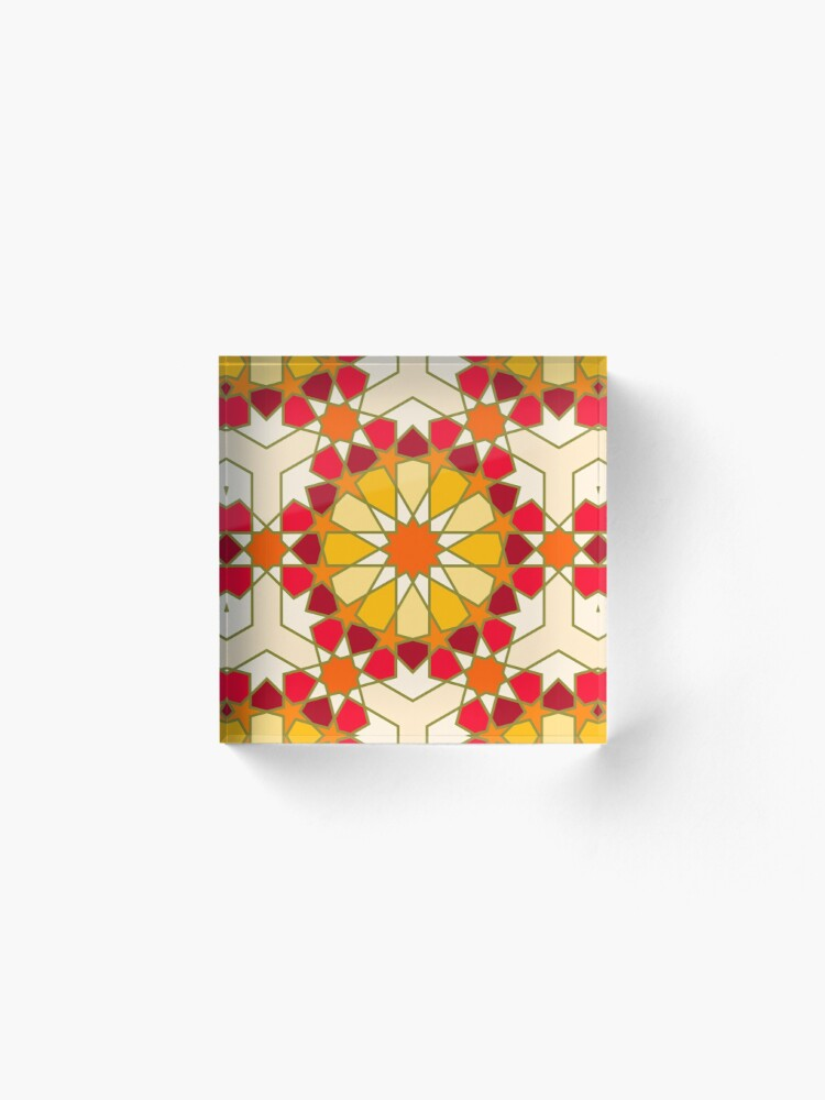 Alternate view of Geometric Pattern: Arabic Tiles: Sunset Acrylic Block