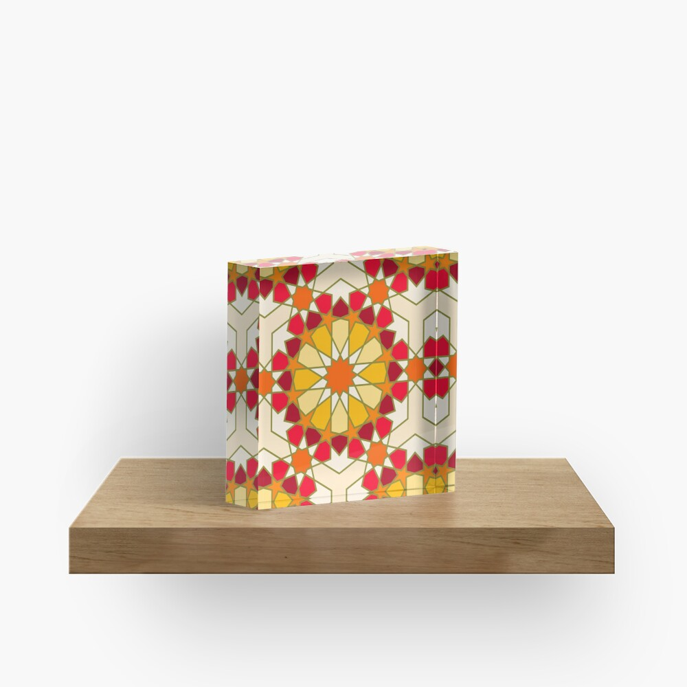 Geometric Pattern: Arabic Tiles: Sunset Acrylic Block