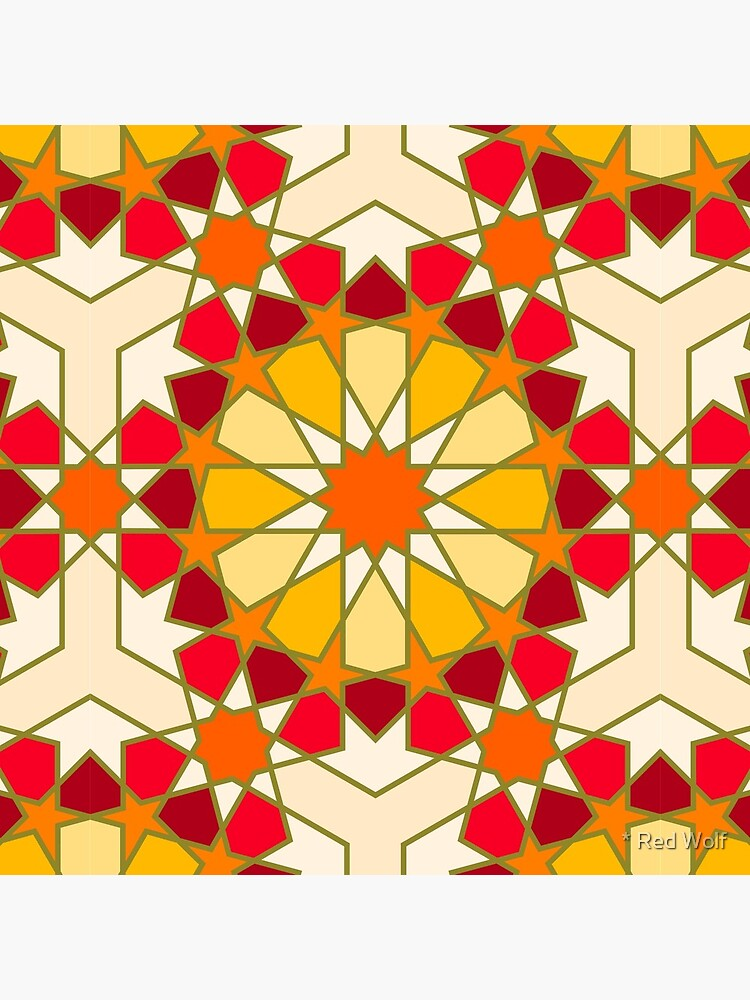 Geometric Pattern: Arabic Tiles: Sunset by redwolfoz
