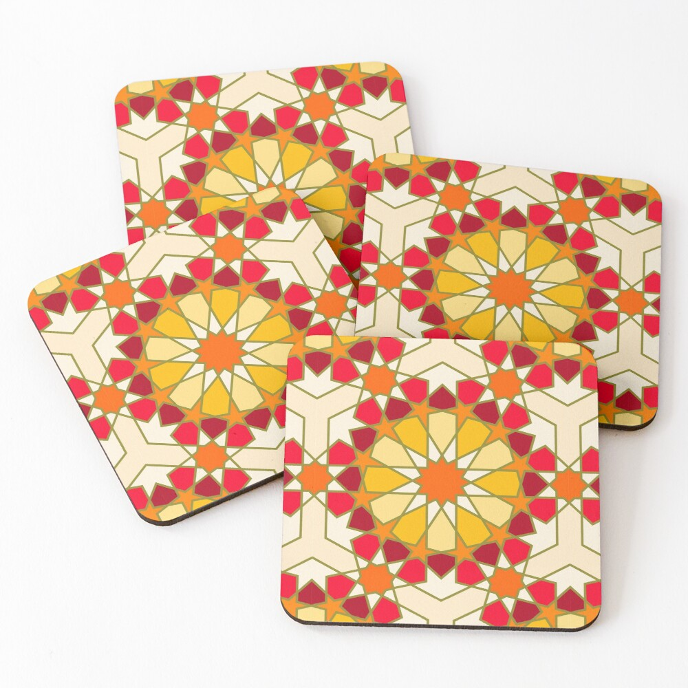 Geometric Pattern: Arabic Tiles: Sunset Coasters (Set of 4)