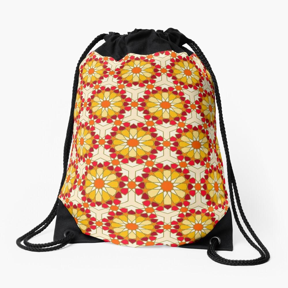 Geometric Pattern: Arabic Tiles: Sunset Drawstring Bag