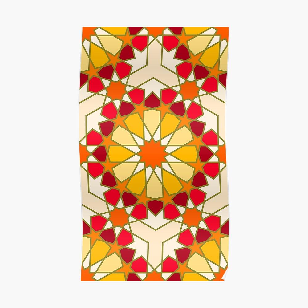 Geometric Pattern: Arabic Tiles: Sunset Poster