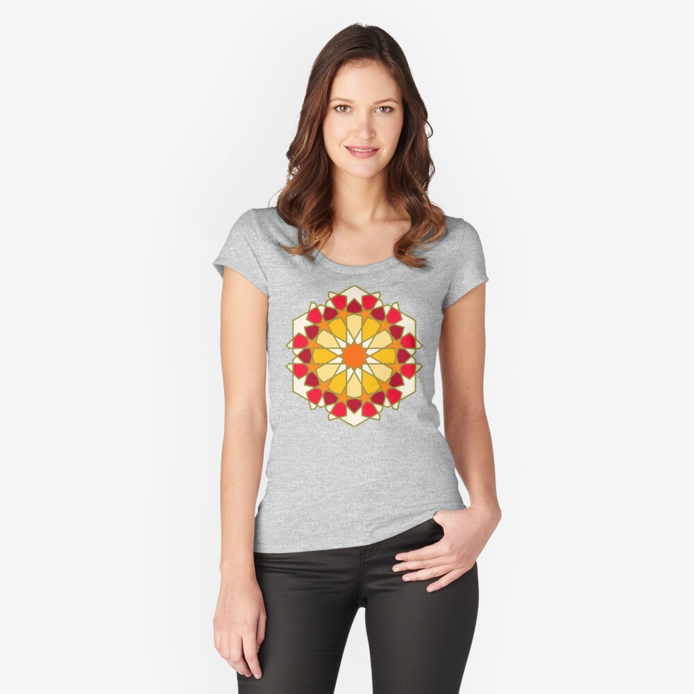 Geometric Pattern: Arabic Tiles: Sunset Fitted Scoop T-Shirt