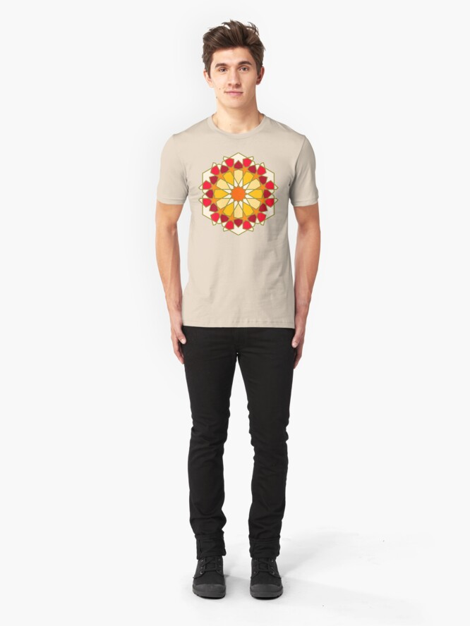Alternate view of Geometric Pattern: Arabic Tiles: Sunset Slim Fit T-Shirt