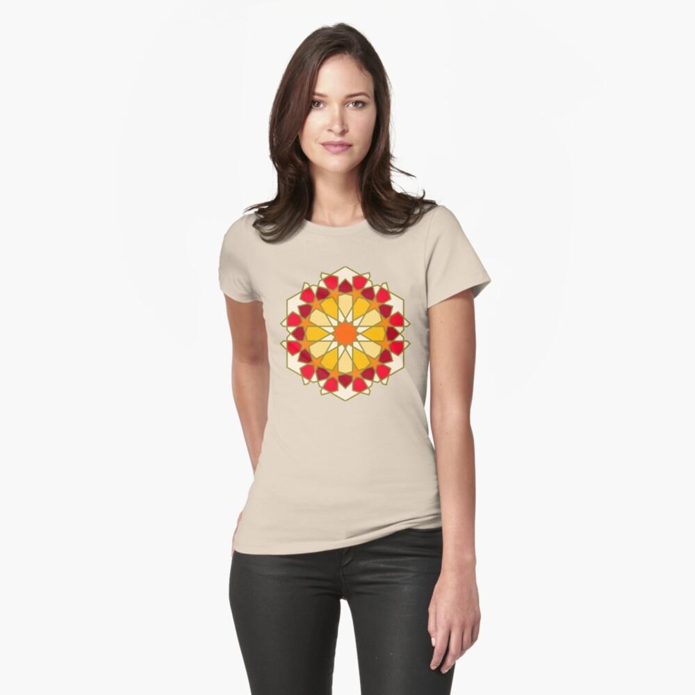 Geometric Pattern: Arabic Tiles: Sunset Fitted T-Shirt