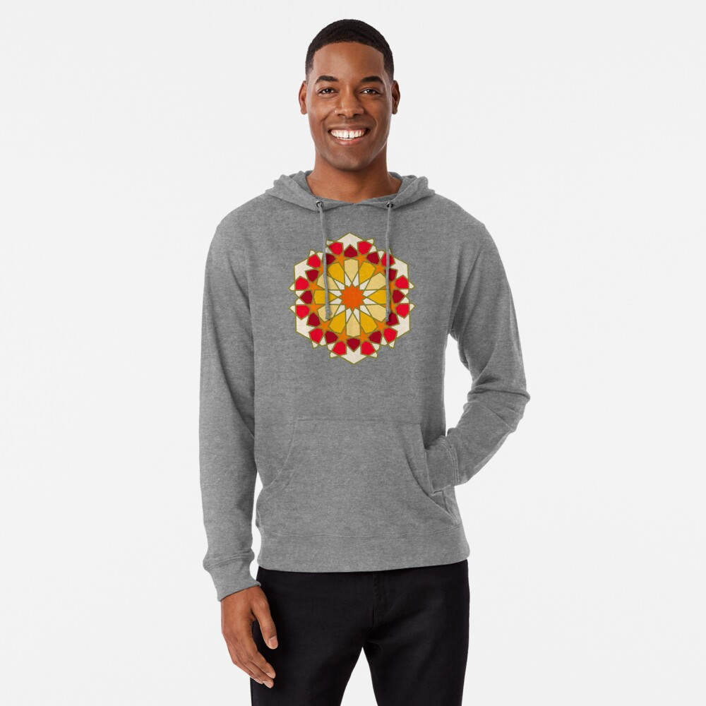 Geometric Pattern: Arabic Tiles: Sunset Lightweight Hoodie