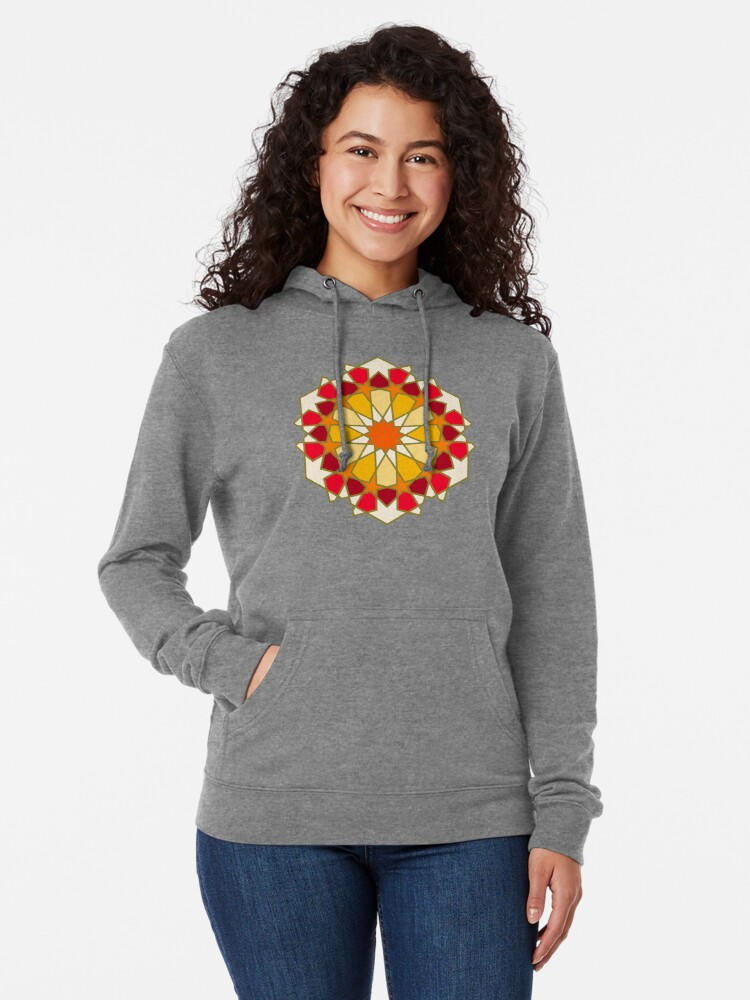 Alternate view of Geometric Pattern: Arabic Tiles: Sunset Lightweight Hoodie