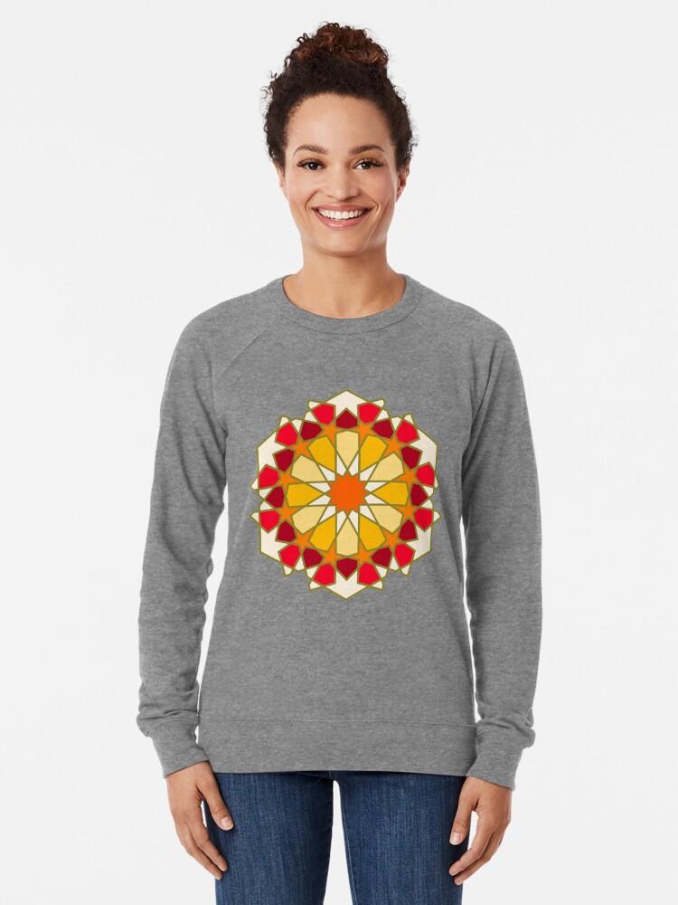Alternate view of Geometric Pattern: Arabic Tiles: Sunset Lightweight Sweatshirt
