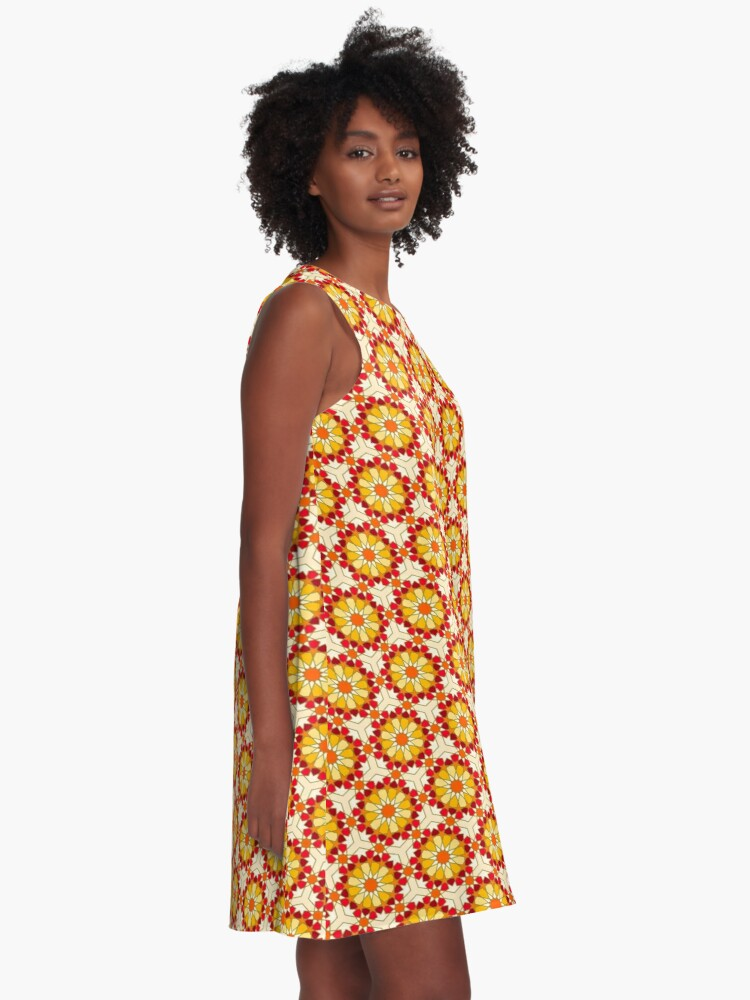 Alternate view of Geometric Pattern: Arabic Tiles: Sunset A-Line Dress