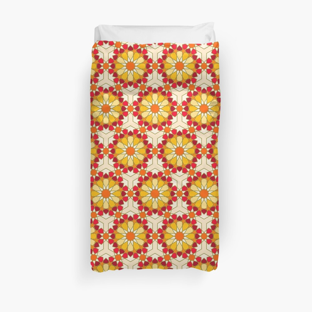 Geometric Pattern: Arabic Tiles: Sunset Duvet Cover