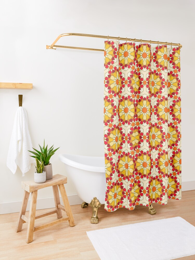 Alternate view of Geometric Pattern: Arabic Tiles: Sunset Shower Curtain