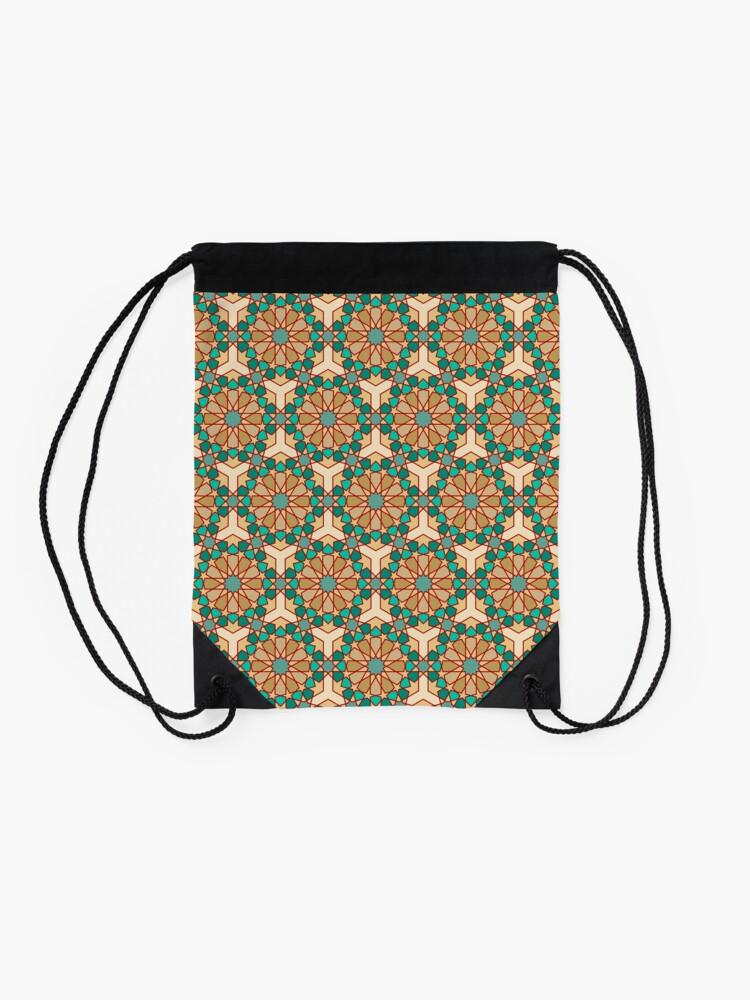 Alternate view of Geometric Pattern: Arabic Tiles: Turquoise Drawstring Bag