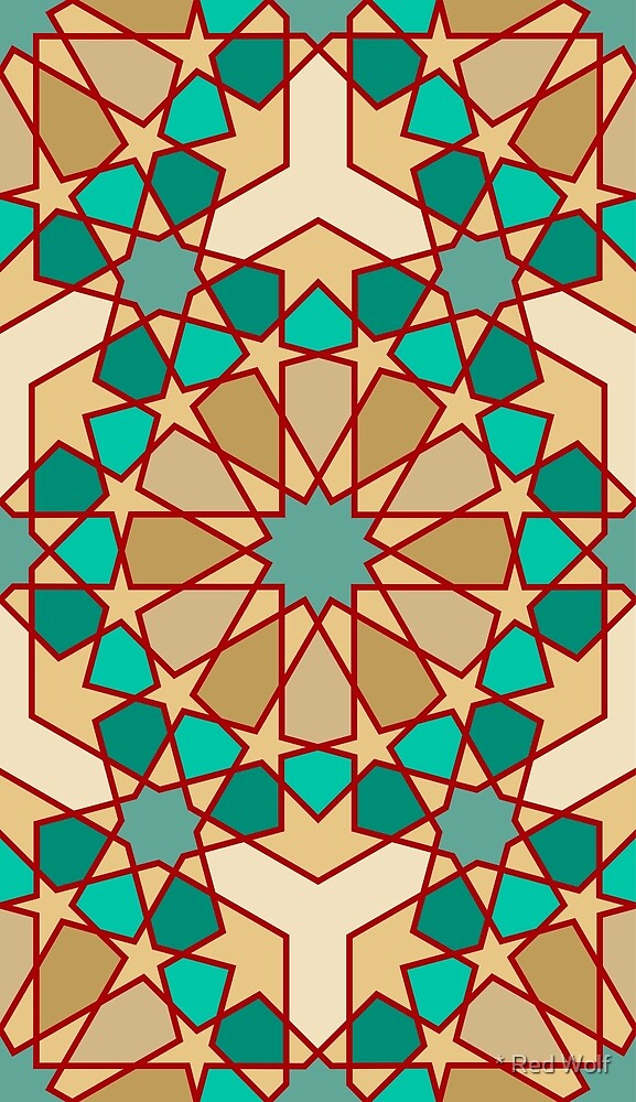 Geometric Pattern: Arabic Tiles: Turquoise by * Red Wolf